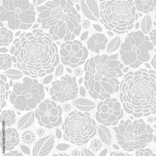 Vector Silver Grey White Mosaic Flowers Seamless Repeat Pattern ...