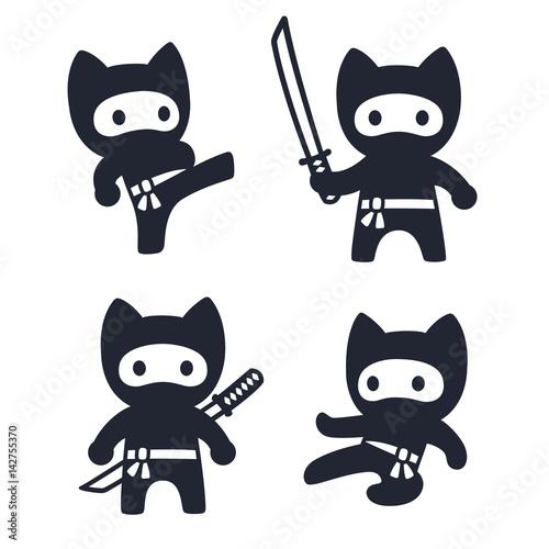 Cute cartoon ninja cat set Canvas Print