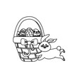 figure eggs easter inside the hamper and rabbit running