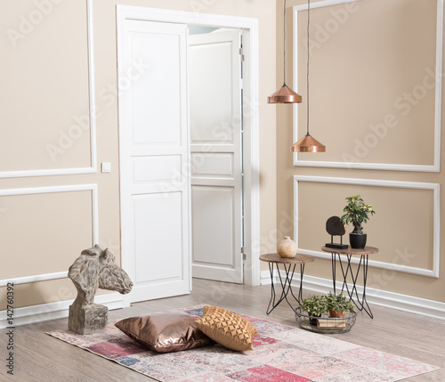 Fototapety, obrazy: modern wall and open white door with home decoration style