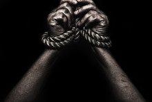 Woman Hands Bound Prisoner In ...
