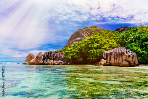 Anse Source d'argent, La Digue island. The Seychelles. Toned image