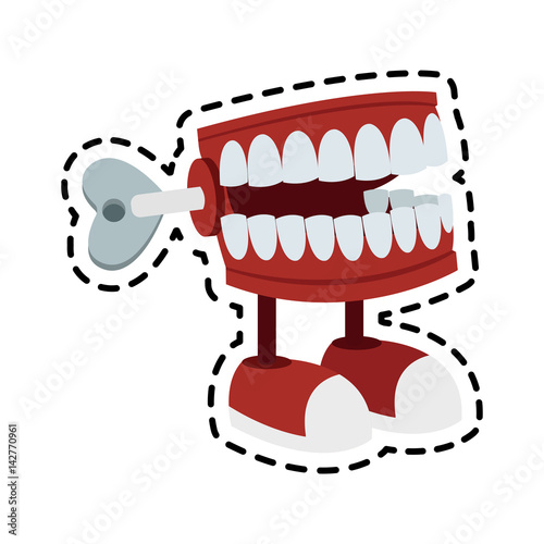 Fotografija chattering teeth wind up toy icon image vector illustration design