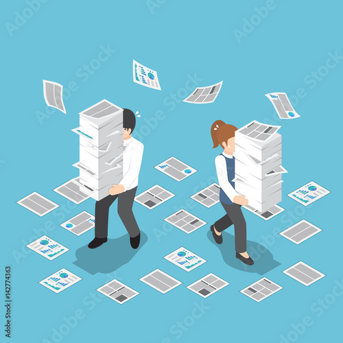 Stampa su Tela Isometric stressful businessman holding stack of paper