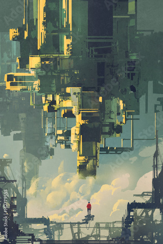 man standing on structure against sci-fi buildings floating in the sky, illustration painting