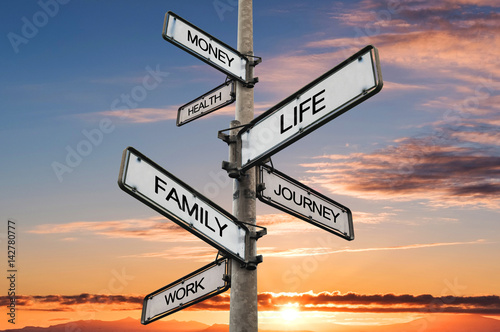 Photo Life balance choices signpost, with sunrise sky backgrounds