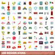 100 region icons set, flat style