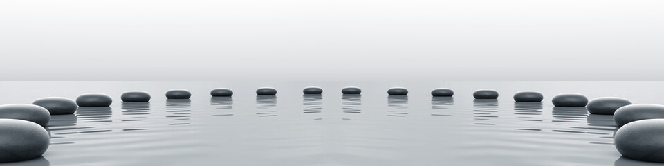 Zen stones panorama in the sea