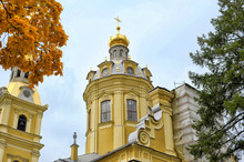 Saint Petersburg, Russia. Peter And Paul Cathedral And Grand Ducal Burial Vault On The Territory Of Peter And Paul Fortress..
