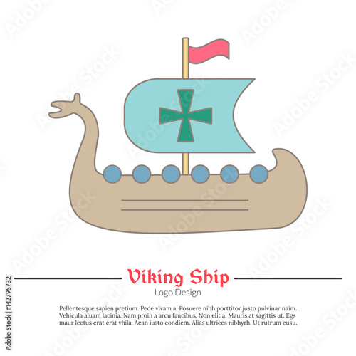 Medieval Viking Ship Boat Single Logo Modern Flat And Thin Line Style Isolated