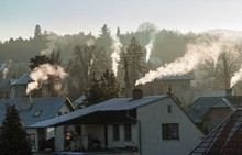 Smoking Chimney Smoke Pollution, Small House Town In Europe