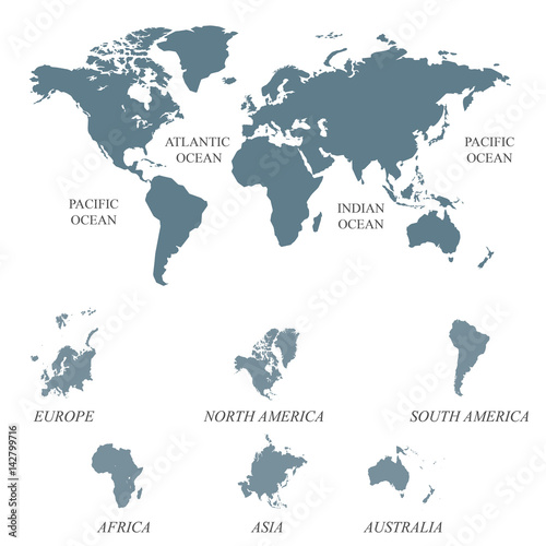 Staande foto Wereldkaart Blank Grey World map isolated on white background. Worldmap Vector template for website, design, cover, annual reports, infographics. Flat World map illustration.