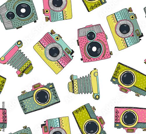 bezszwowe-tlo-wzor-z-recznie-rysowane-retro-ozdobne-kamery-ilustracji-wektorowych