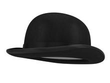 Stylish Black Bowler Hat On A White Background - 3d Render