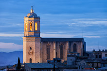 Girona Cathedral At Dusk In Spain