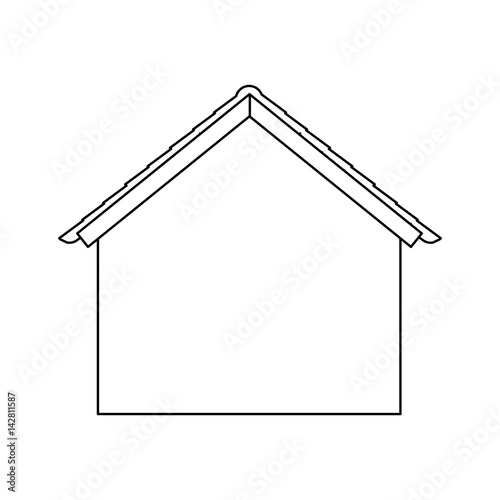 Facade Silhouette House With Roof Icon Vector Illustration Kaufen