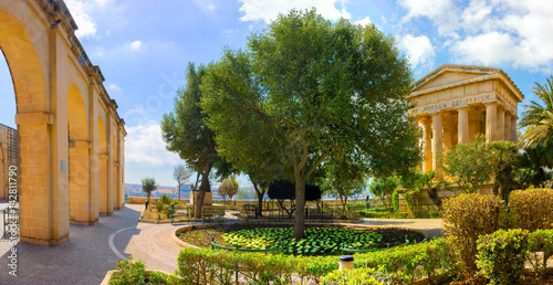Photo  Malta Valletta Lower Barrakka Gardens Panorama Alexander Ball Temple