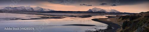 Keuken foto achterwand Lavendel 'Vistas': sunset panorama of the Bay of Seals, Iceland