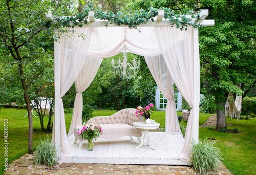 Fotografie, Tablou delicate elegant gazebo in lush gardens