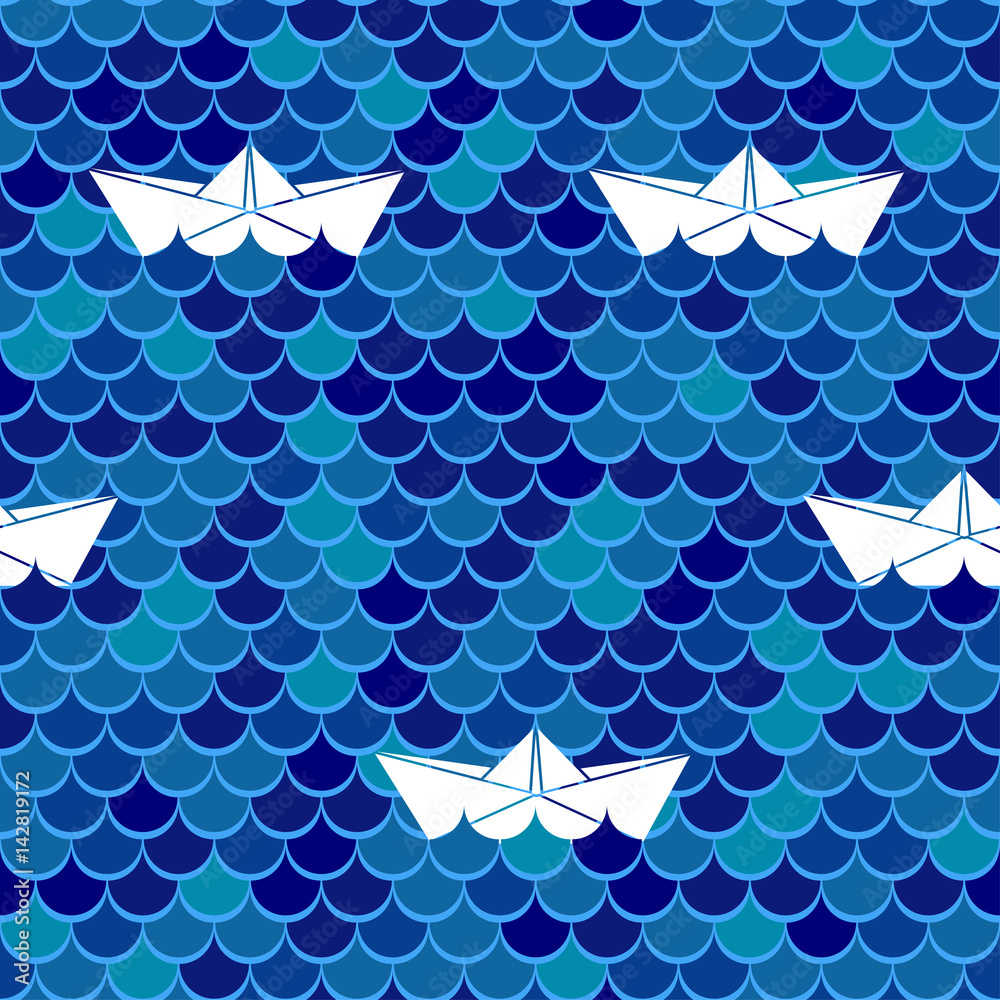 Marine seamless background. Sea wavy and paper boats. Vector illustration.