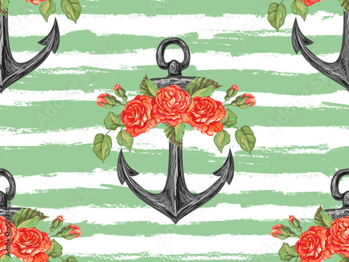 Ingelijste posters Aquarel schedel Seamless sea pattern with anchor, roses, leaves. Rose summer floral design vector background. Perfect for wallpapers, pattern fills, web page backgrounds, surface textures, textile