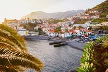 Scenic Aerial View Of Camara De Lobos Village, Madeira
