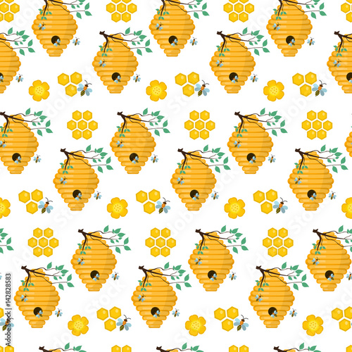 Cotton fabric Honey seamless pattern. Beekeeping endless background, texture. Vector illustration