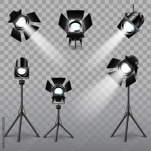 Foto op Canvas Licht, schaduw Realistic spotlight set vector