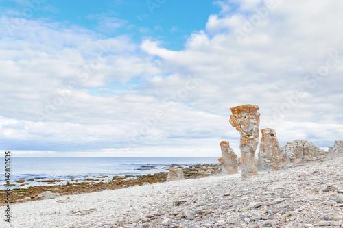 Fotografía Rauk landscape of Langhammar in Gotland, Sweden