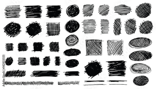 Valokuva  Hand Drawn Shaded Scribble Shapes