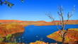 canvas print picture - High up View of beautiful Lake Argyle nearby Kununurra, West Australia on a warm sunny day with blue skies