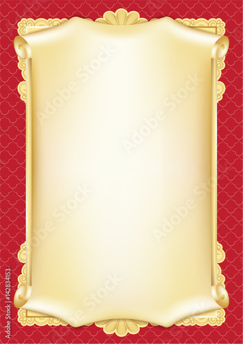 Template for diploma, certificate, card with scroll and decorative ...