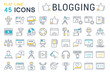 Set Vector Flat Line Icons Blogging