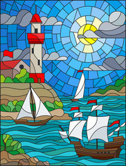 Obraz na Plexi Marynistyczny Illustration in stained glass style with sea view, three ships and a shore with a lighthouse in the background of day cloud sky sun and sea