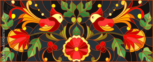 Obraz na plátně  Illustration in stained glass style with a pair of birds , flowers and patterns