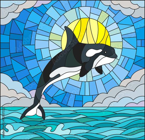 ilustracja-w-stylu-witrazu-z-wielorybem-na-tle-wody-chmury-nieba-i-slonca