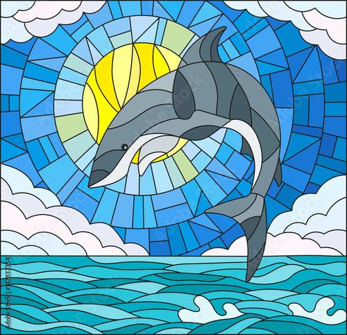 ilustracja-w-stylu-witrazu-z-rekinem-na-tle-wody-chmury-nieba-i-slonca