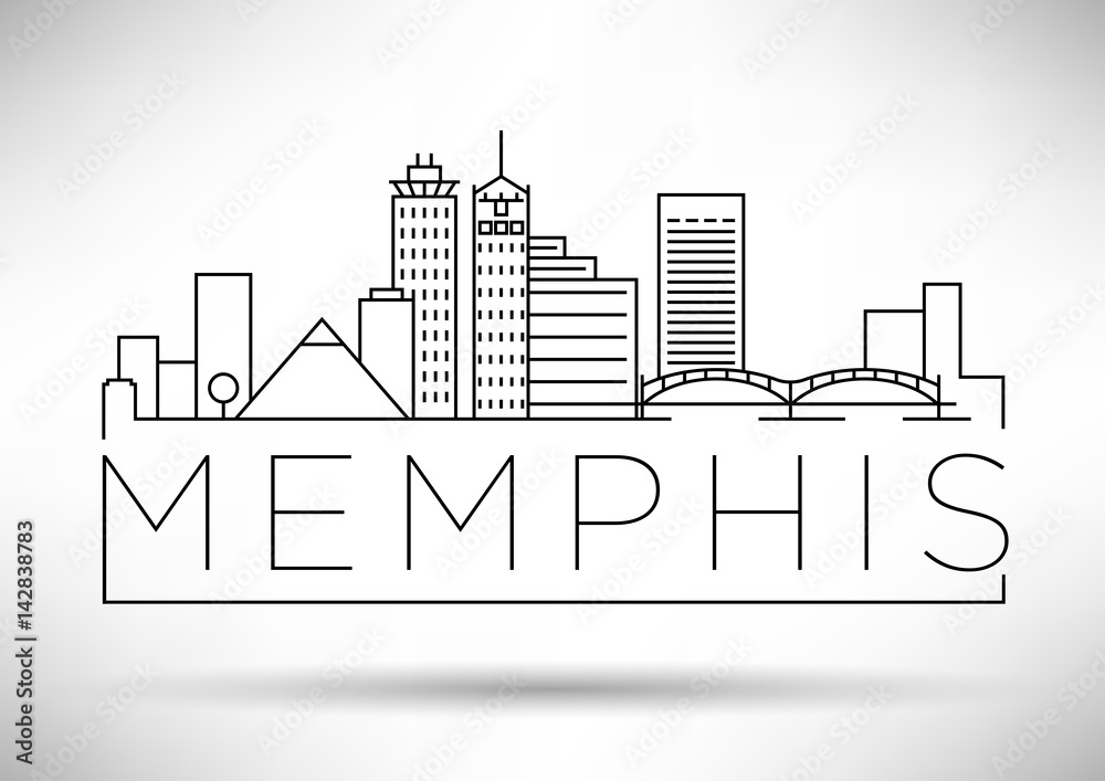 Fototapeta Minimal Memphis Linear City Skyline with Typographic Design