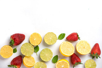 The fresh strawberry and lemons