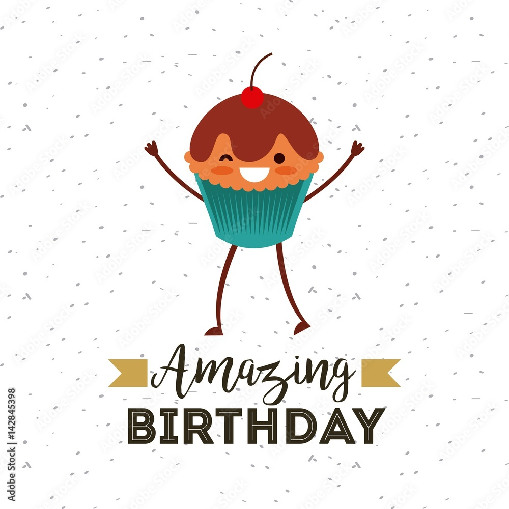 Happy Birthday Card With Cupcake Cartoon Icon Over White Background Foto Poster Wandbilder Bei EuroPosters