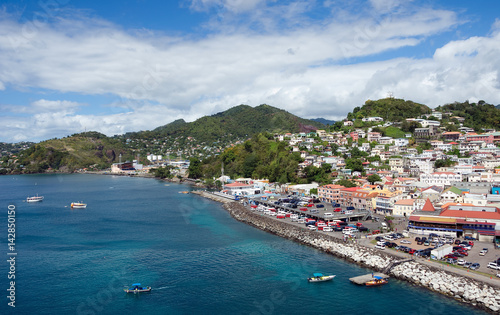 Photo Stands Caribbean Grenada island - Saint George's town and bay