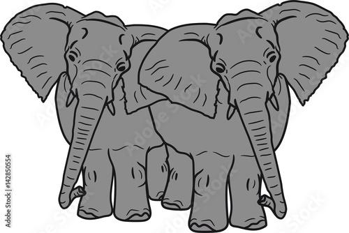 2 Freunde Team Paar Parchen Liebe Verliebt Elefant Suss Niedlich