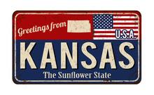 Greetings From Kansas Vintage Rusty Metal Sign