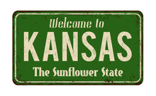 Welcome To Kansas Vintage Rusty Metal Sign