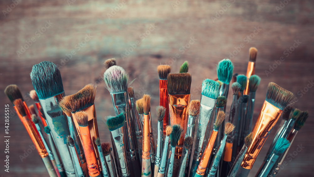 Fototapety, obrazy: Bunch of artistic paintbrushes. Retro toned photo.