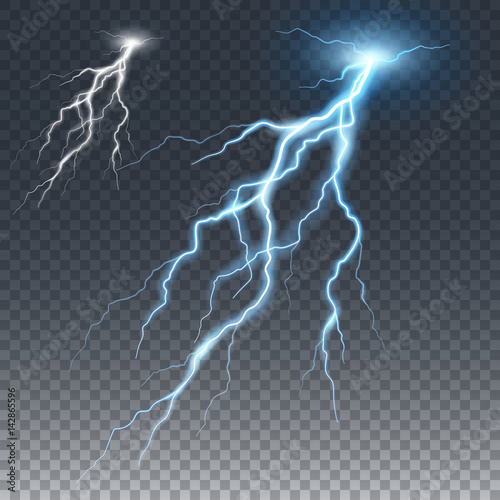 Lightening and thunder bolt, glow and sparkle effect Canvas-taulu