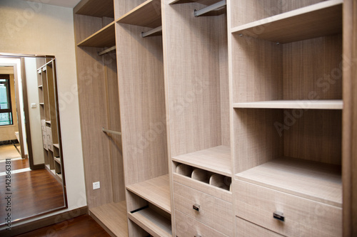 Foto op Canvas Trappen Modern apartment interior with empty wardrobe.