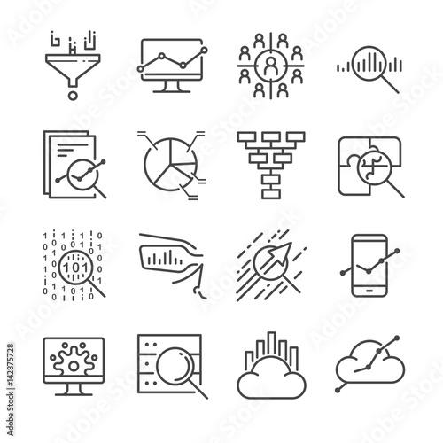 Fotografie, Obraz  Data Analysis icons set