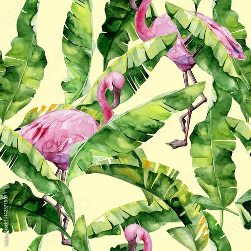 tropikalne-liscie-gesta-dzungla-lisci-bananowca-bez-szwu-akwarela-ilustracji-tropikalnych-rozowych