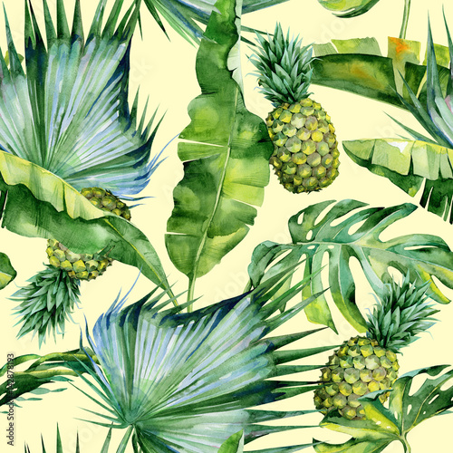 Fototapeta Seamless watercolor illustration of tropical leaves and pineapple, dense jungle Pattern with tropic summertime motif may be used as background texture, wrapping paper, textile,wallpaper design